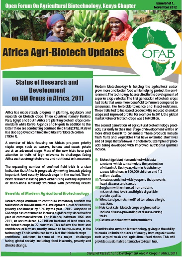 Status of Research and Development on GM Crops in Africa 2011