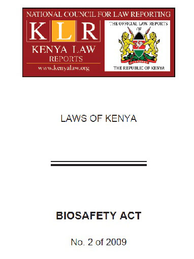 Biosafety Act No.2 of 2009