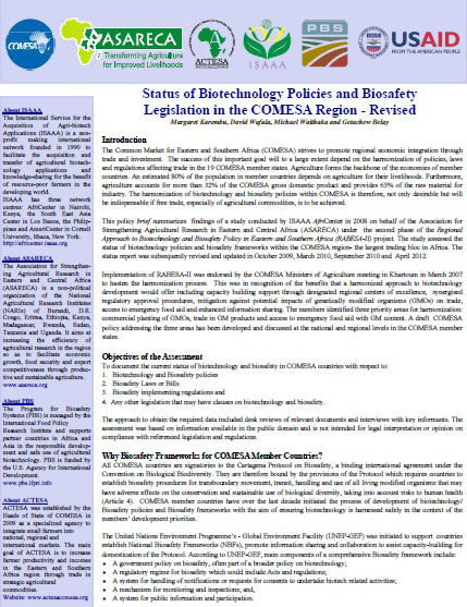 Status of Biotechnology Policies and Biosafety Legislation in the COMESA Region