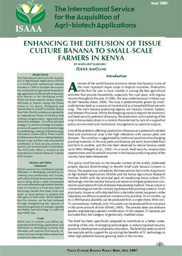 Enhancing the Diffuson of Tissue Culture Banana to Small-Scale Farmers in Kenya