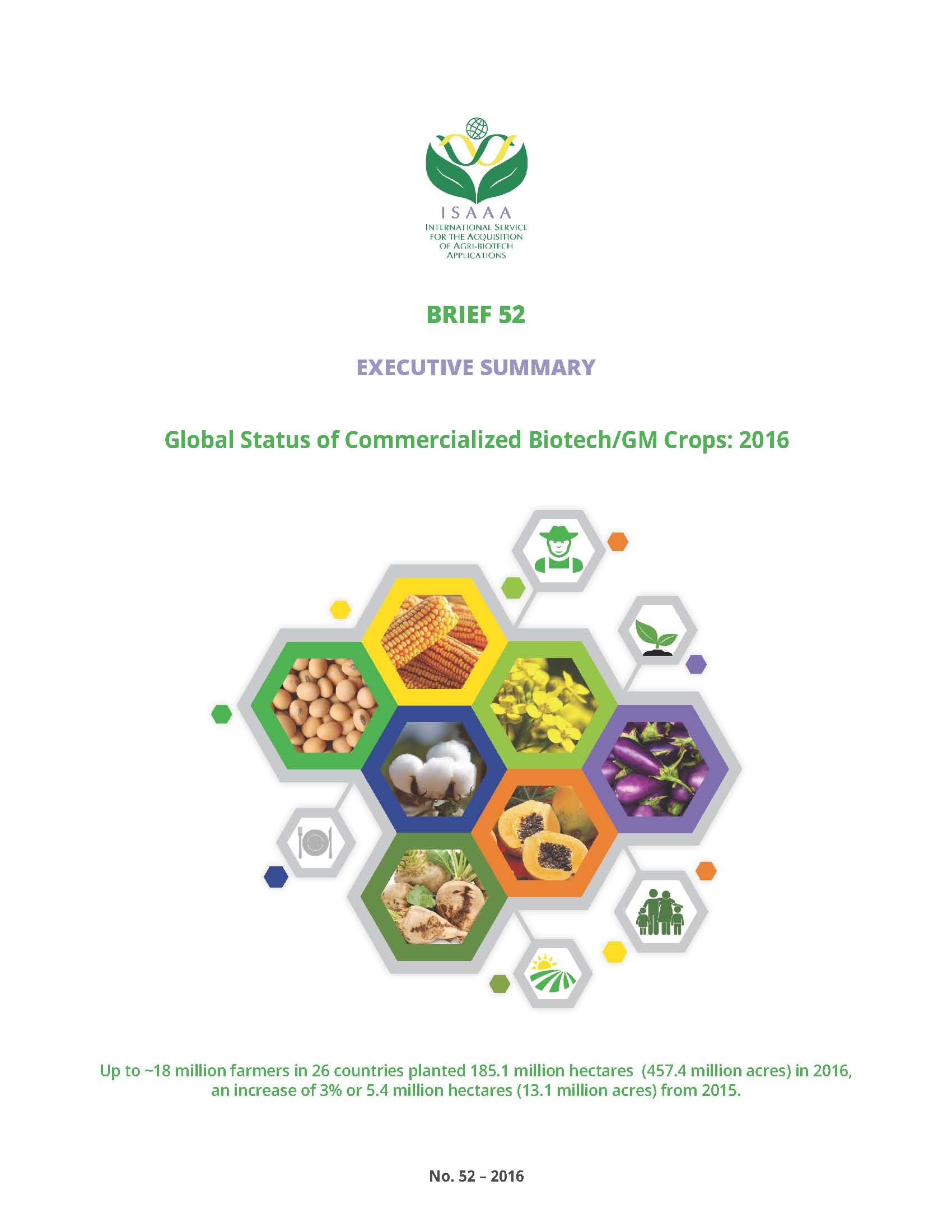 Executive Summary: Global Status of Commercialized Biotech/GM Crops in 2016