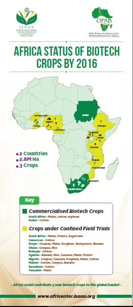 Africa Status of Biotech Crops by 2016