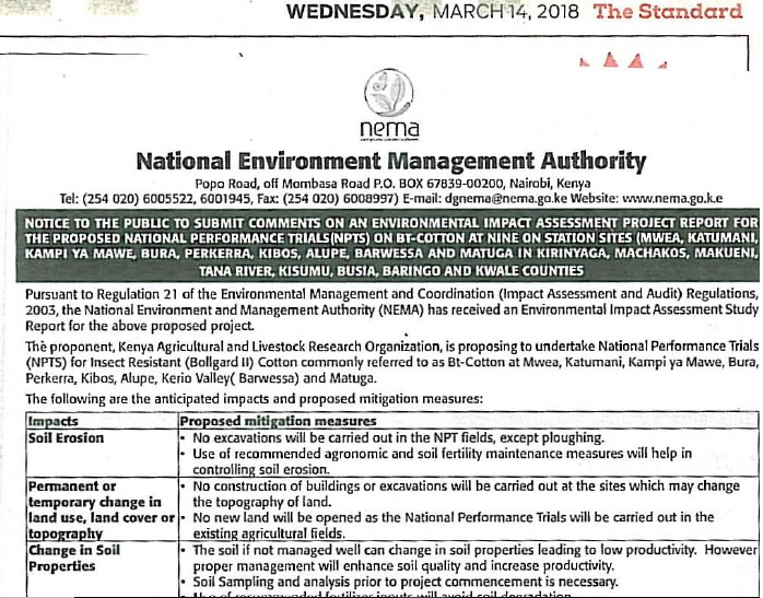 NEMA Public Notice – Environment Impact Assessment