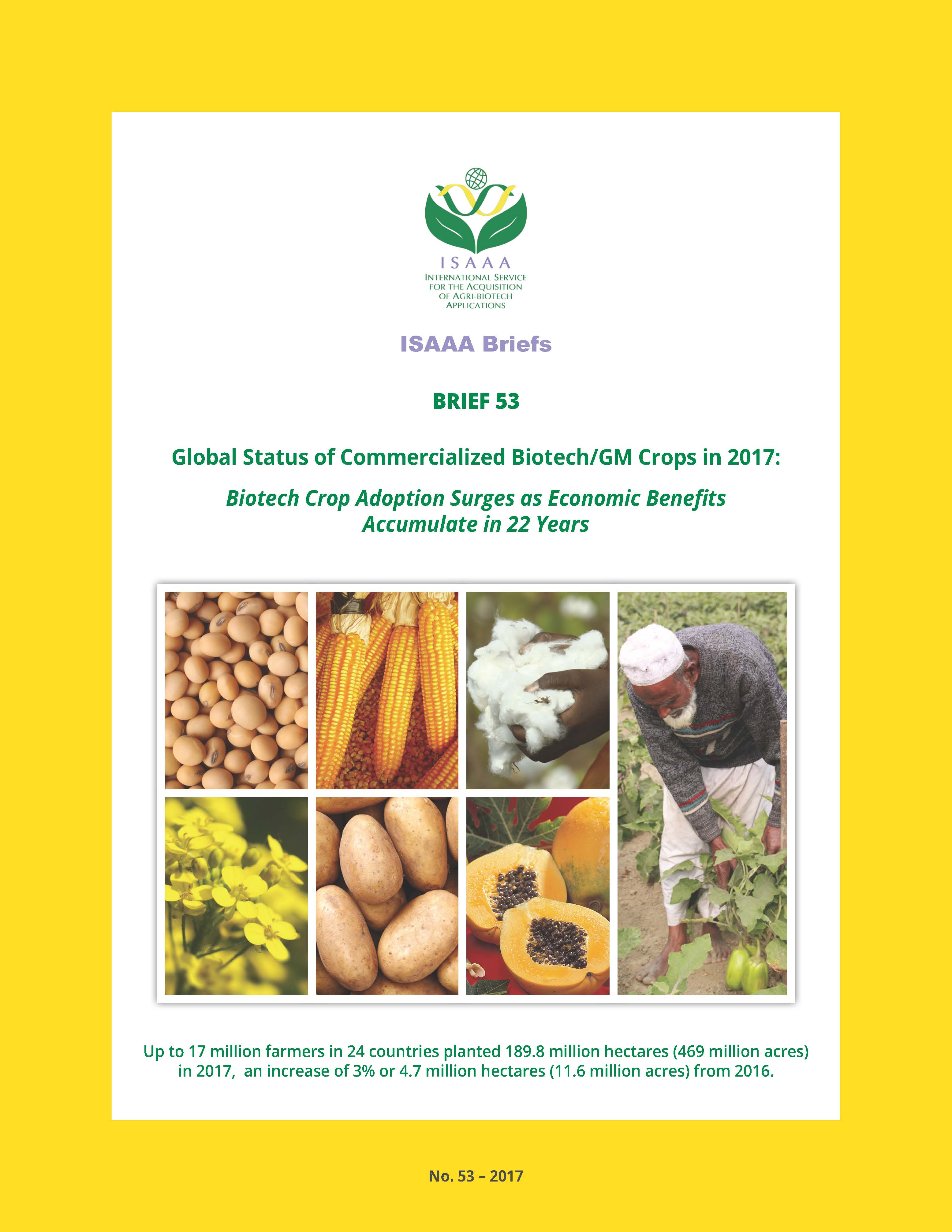 Global Status of Commercialized Biotech/GM Crops: 2017