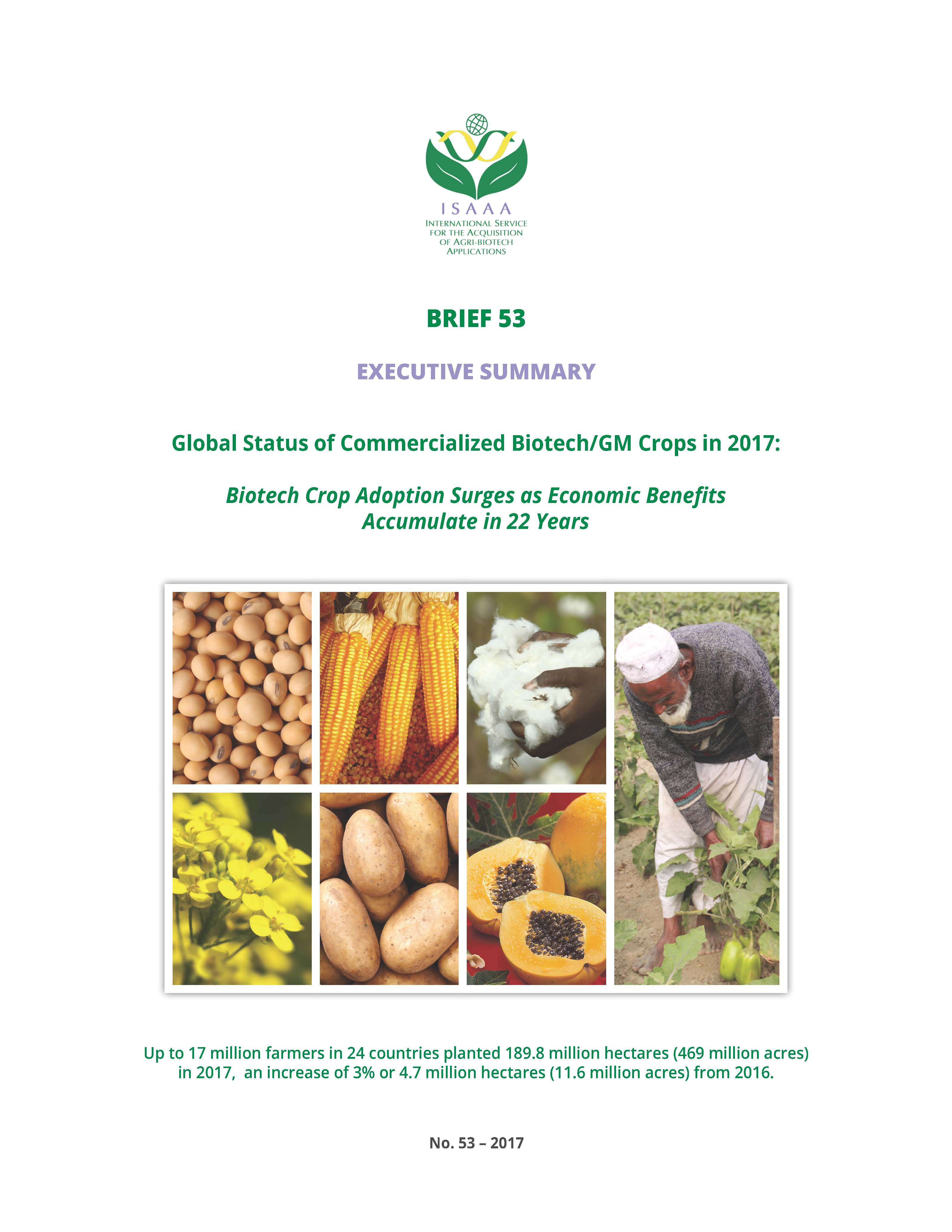 EXECUTIVE SUMMARY: GLOBAL STATUS OF COMMERCIALIZED BIOTECH/GM CROPS IN 2017